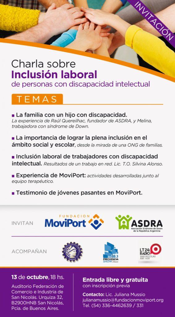 Charla sobre inclusión laboral en San Nicolás