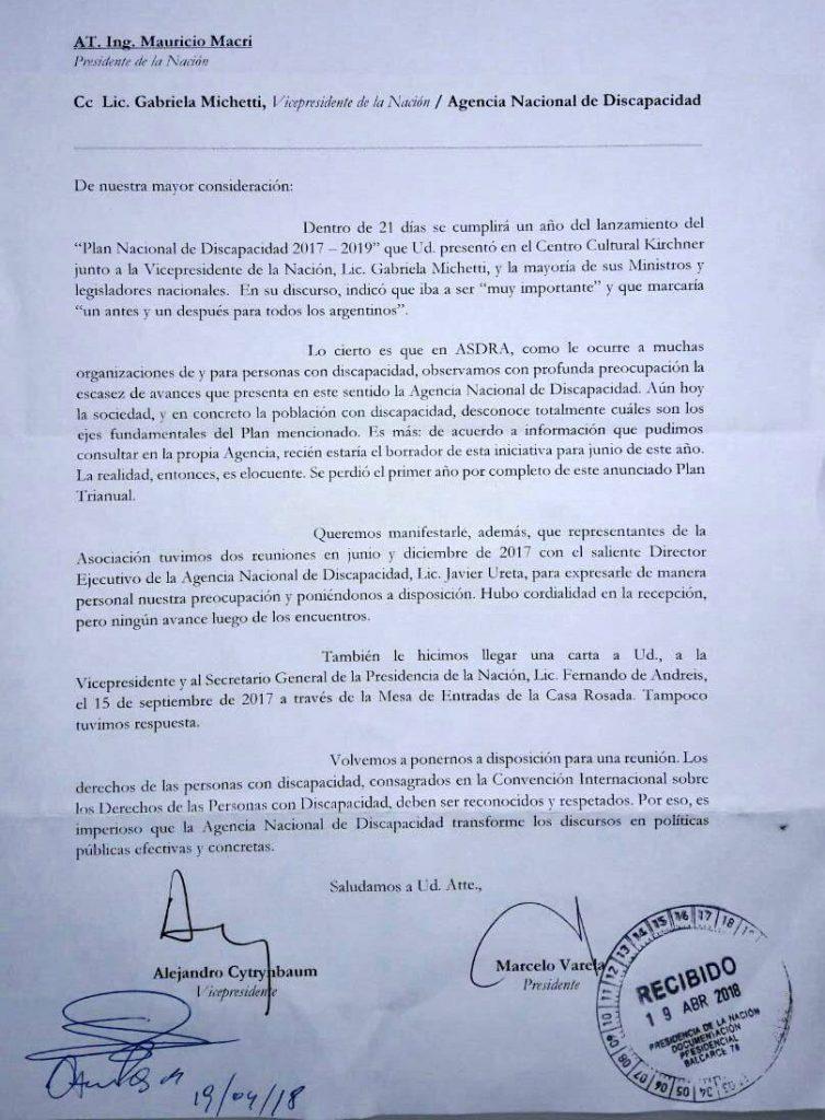 Carta presentada en Casa Rosada.