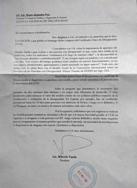 Carta de ASDRA a la Agencia Nacional de Discapacidad
