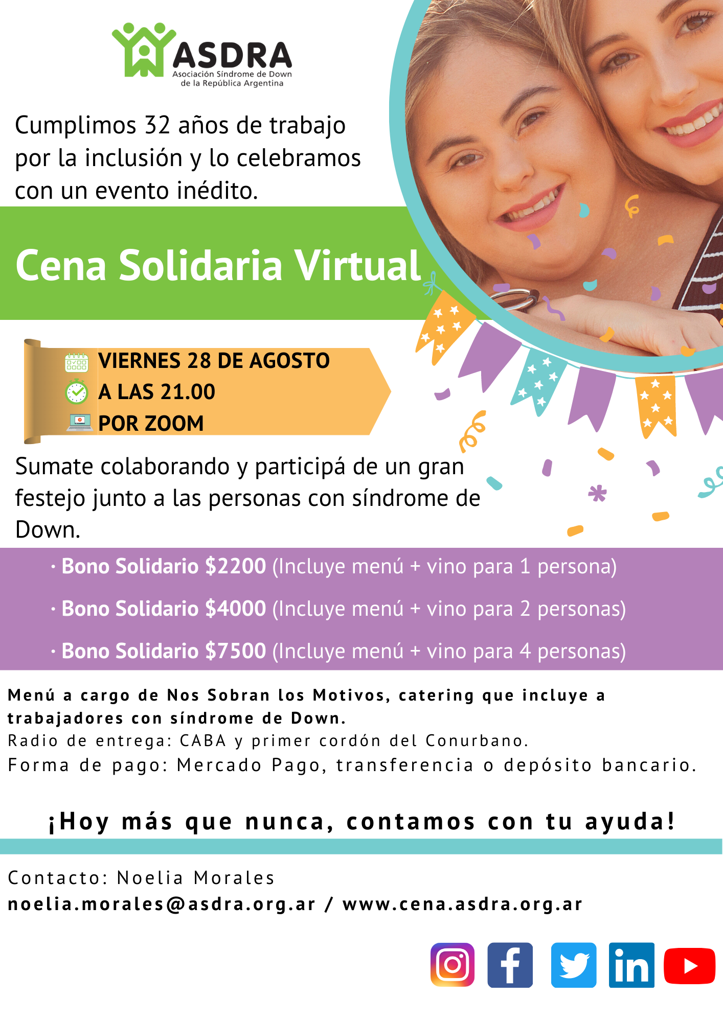 Cena Solidaria Virtual de ASDRA